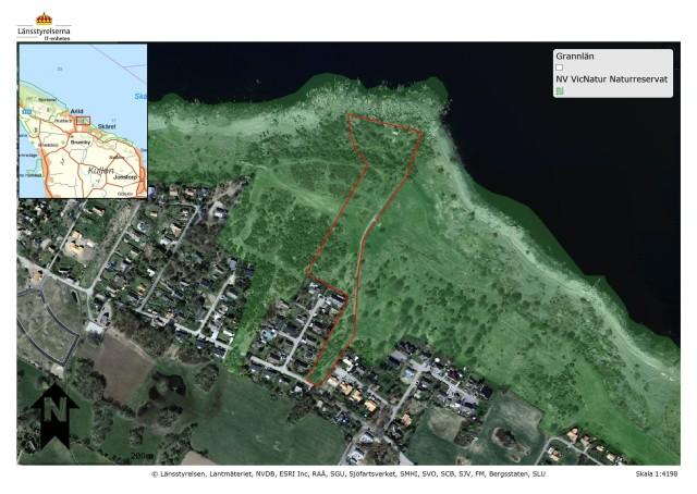 Röjning och gallring kommer ske inom rödmarkerat område.